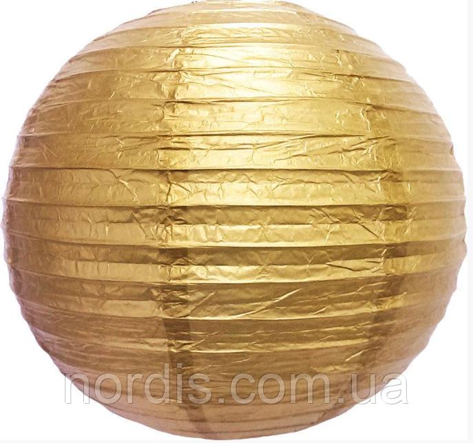 Бумажный подвесной шар золото, 25 см.