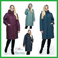 Куртка женская демисезонная удлиненная «Карина» (С 54 по 70 | Синяя, зеленая, марсала, мятная)
