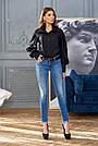 Рубашка женская чёрная хлопок, стильная, молодёжная, фото 4