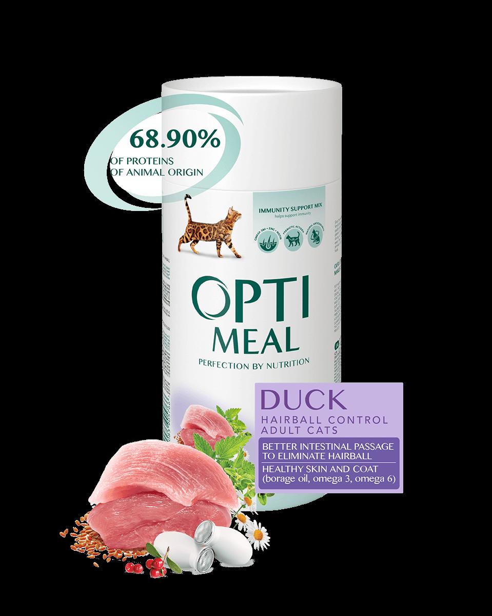 Сухой корм для взрослых кошек для выведения шерсти - УТКА Opti Meal 4 кг