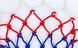 Сетка баскетбольная (полипропилен, 12 петель, цвет бело-красно-синий, в компл. 2 шт.)  C-5642, фото 2