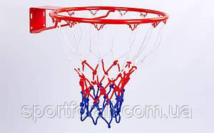 Баскетбольна сітка (поліпропілен, 12 петель, колір біло-червоно-синій, в компл. 2 шт.) C-5642