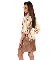 Женский атласный халат с пеньюаром бежевый