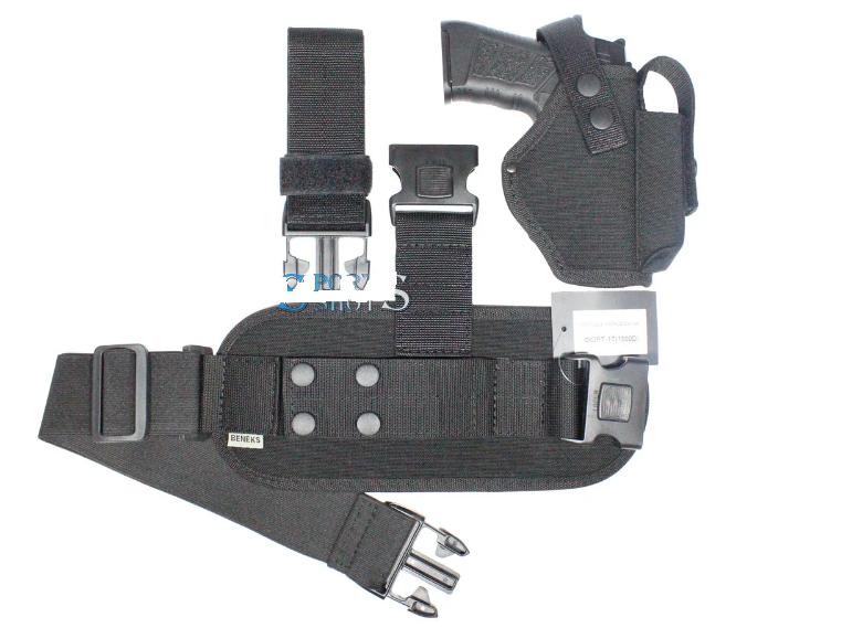 Кобура набедренная черная с чехлом под запасной магазин для пистолета Форт-17 с платформой, разборная
