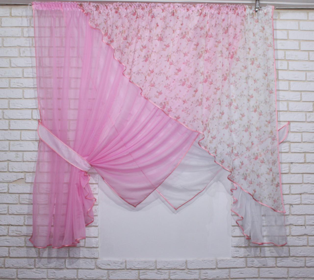 Комплект кухонные шторки с подвязками, №063к (е847)