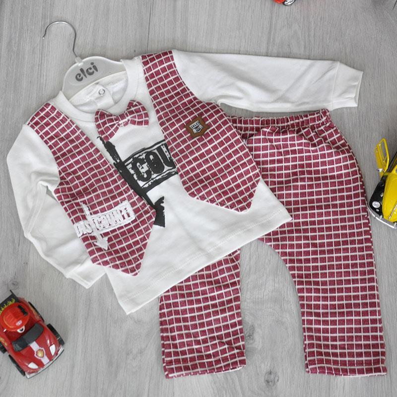 Детский трикотажный костюм, (кофточка+штанишки), размер: 3-6-9 мес (3 ед в уп)
