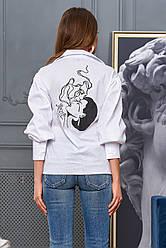 Белая рубашка хлопковая женская стильная