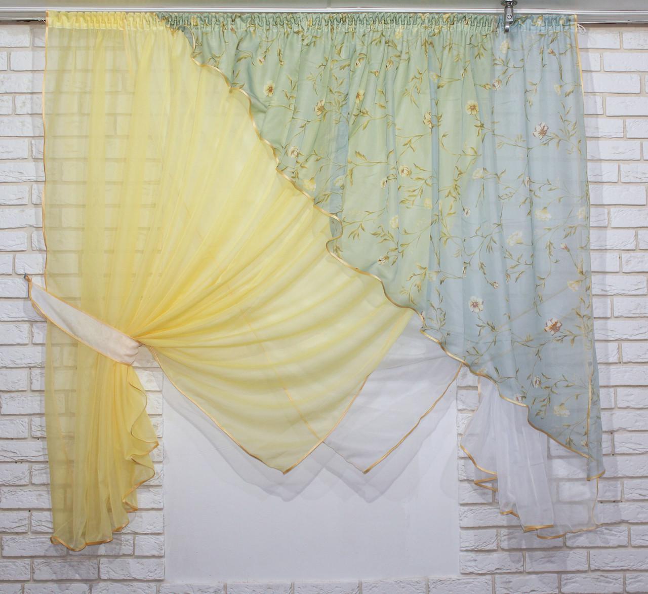 Комплект кухонные шторки с подвязками, №063к (е860)