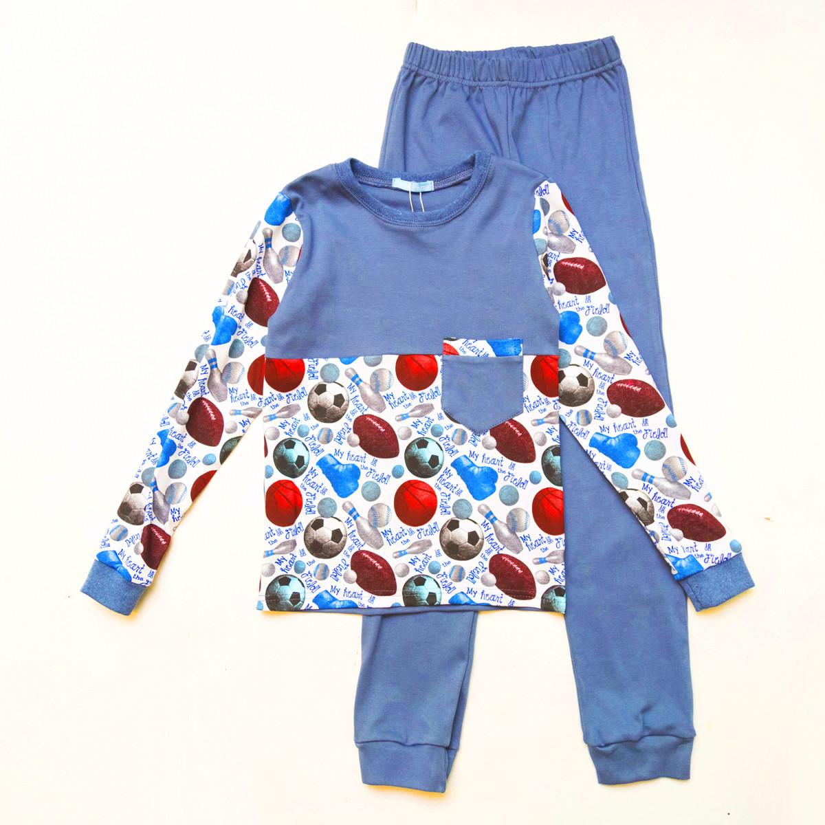 Пижама для мальчика, интерлок 100% хлопок SmileTime Sport Time, индиго