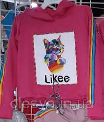 Модный свитшот кроп для девочек Likee с котом Размер 146