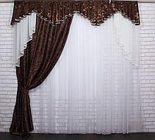 Ламбрекен со шторой из ткани жаккард Код 108лш092