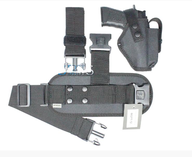 Кобура набедренная черная с чехлом под запасной магазин для пистолета Форт-12 с платформой и поясным ремнем