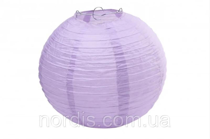 Бумажный подвесной шар сиреневый, 30 см.