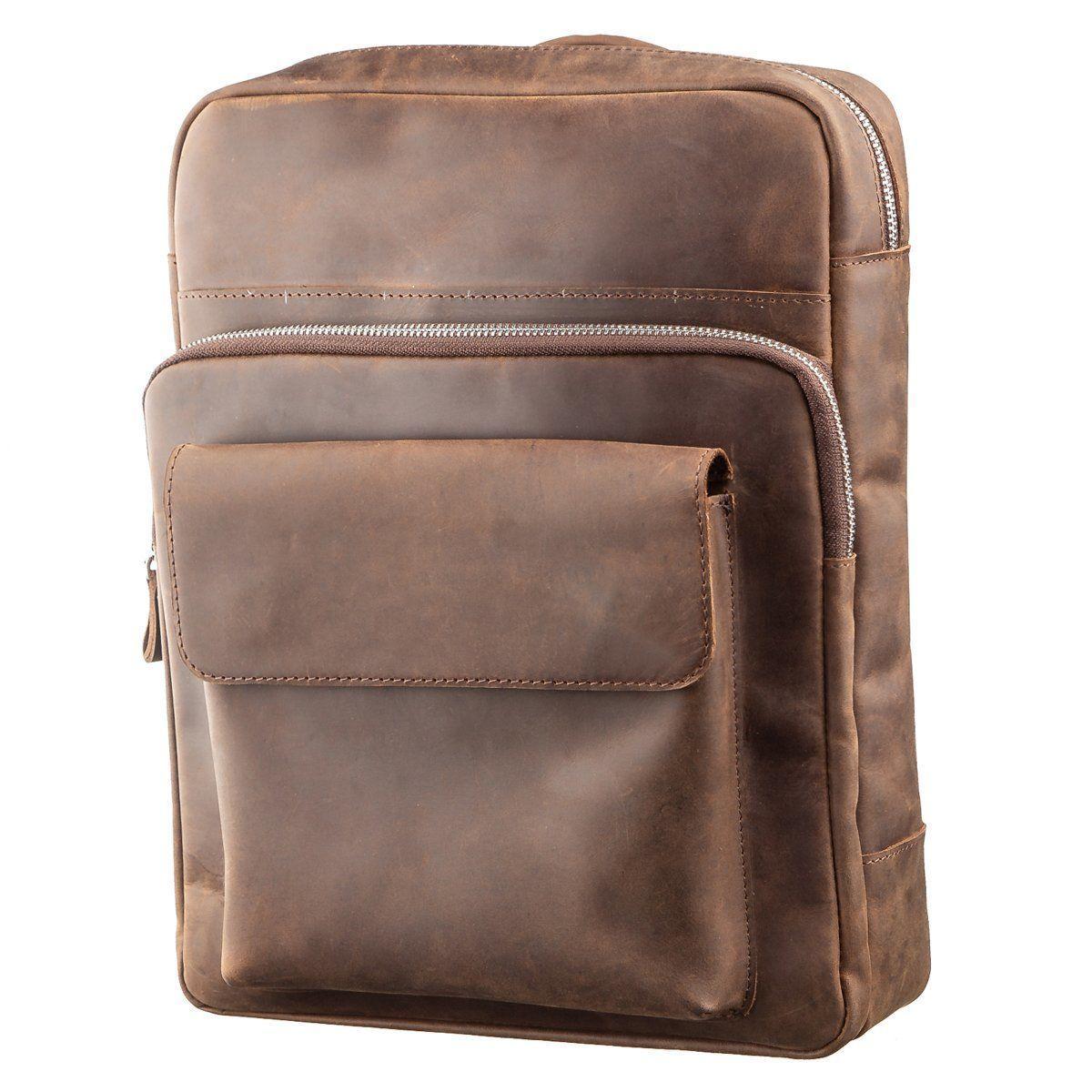 Рюкзак унісекс з матової шкіри в коричневому кольорі SHVIGEL 11175