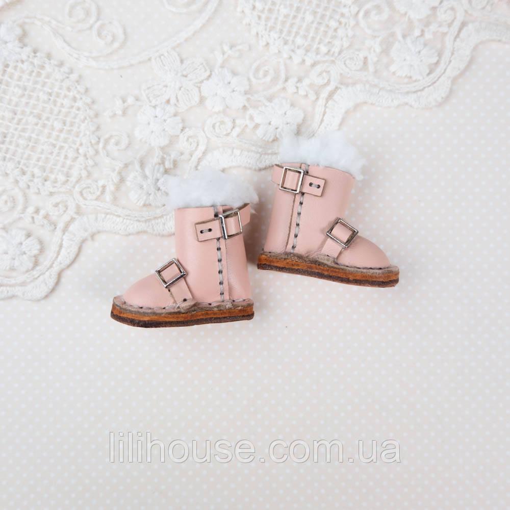 Обувь для кукол Кожаные Сапожки 35*18 мм РОЗОВЫЕ