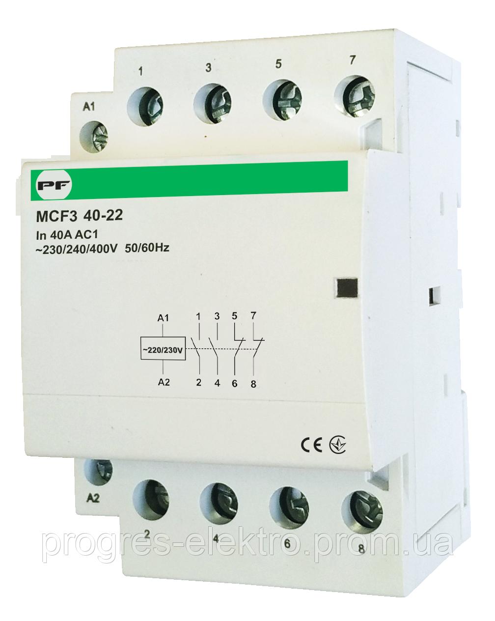 Модульный контактор MCF3 4p 40а 2NO 2NC 230V Promfactor