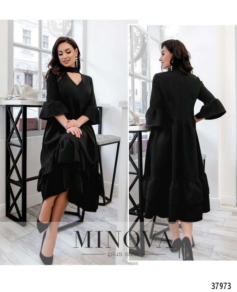 Платье №748Б-черный Размеры 48-50