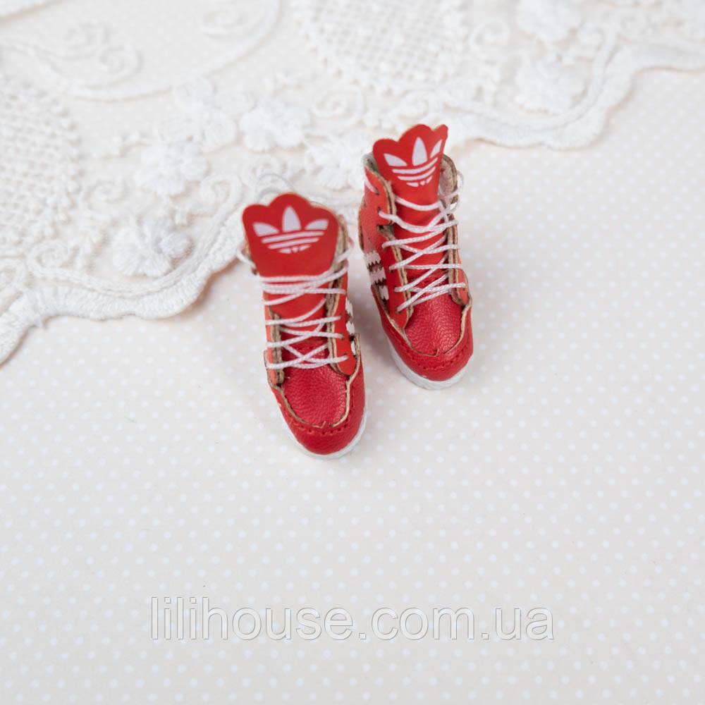 """Обувь для кукол Кожаные Кроссовки """"Adidas""""  30*14 мм КРАСНЫЕ"""
