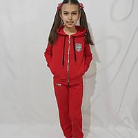 Детский спортивный костюм с капюшоном для девочки двунитка, красный (рост 134-158)