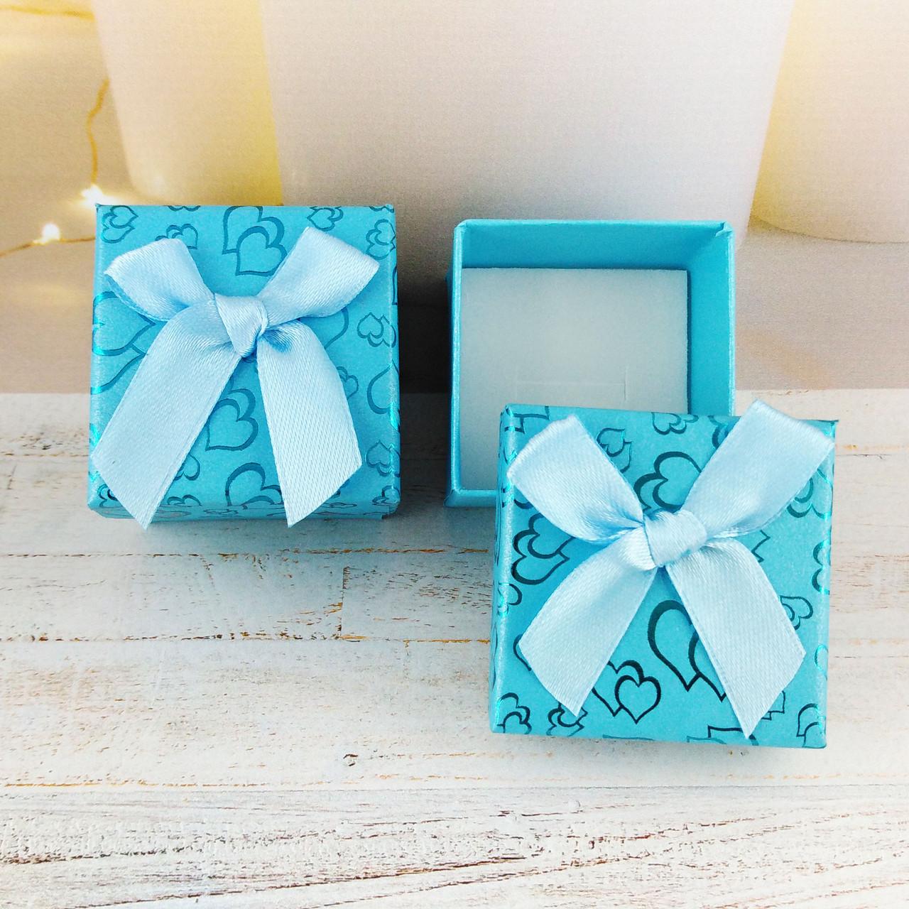 Подарочная коробочка Сердца Голубая