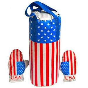 Боксерский набор груша и перчатки Dankotoys Америка средний размер