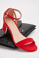 Красные женские замшевые босоножки на широком каблуке. Размеры 37, 38, 39, 40