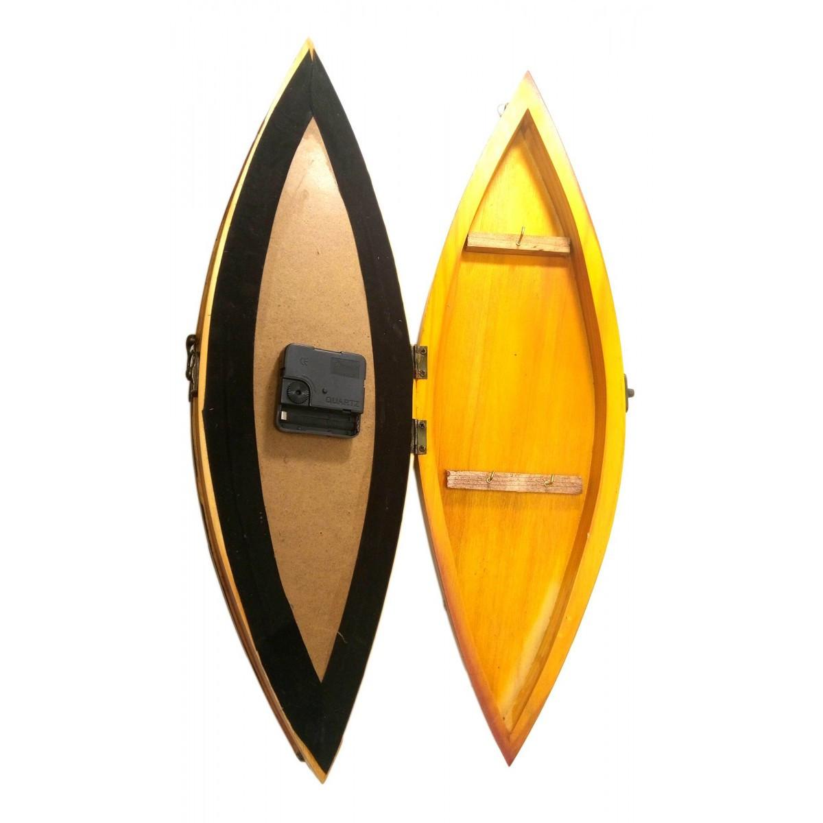 Ключница с часами Лодка деревянная (49,5х15х10 см)