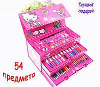 Детский набор юного художника Hello Kitty 54 предмета в подарочном чемоданчике для рисования и творчества.