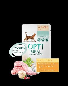 Opti Meal 12*85 г. Блок паучей для взрослых кошек - с КРОЛИКОМ в белом соусе