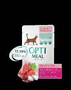 Opti Meal 12*85 г. Блок паучей для взрослых кошек - с ТЕЛЯТИНОЙ в клюквенном соусе