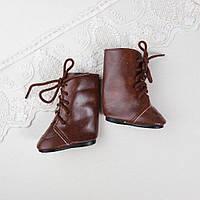 Обувь для кукол Сапожки Высокие 7 см на Шнуровке 6.5*3.5 см КОРИЧНЕВЫЕ, фото 1