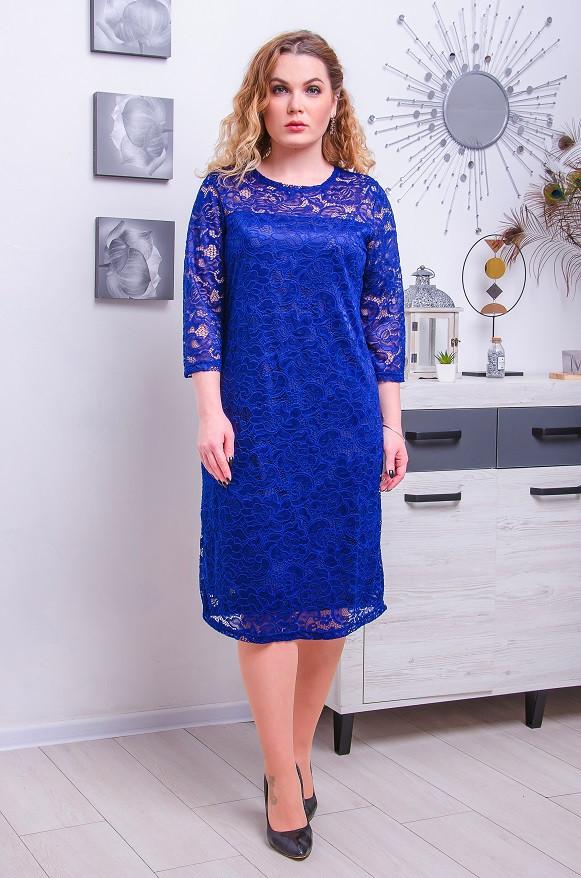 Нарядное платье с гипюра размер плюс Диадора  синий (50-62)