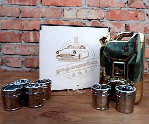 Подарочный набор Дозаправка в ящике - золотая канистра и 6 рюмок