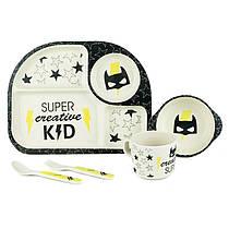 Набор посуды из бамбукового волокна, бамбуковая посуда для детей Бэтмен, Bamboo Fibre kids set,2773