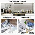 [ОПТ] Багатофункціональна щітка для миття посуду з дозатором для миючого засобу і насадками, фото 8