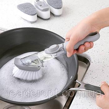 [ОПТ] Многофункциональная щетка для мытья посуды с дозатором для моющего средства и насадками