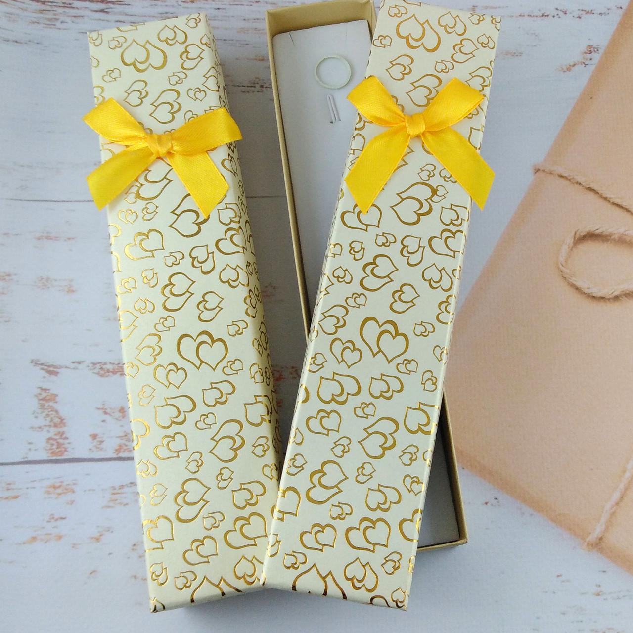 Подарочная коробочка для браслетов Сердца Нежно желтая