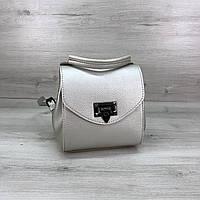 Маленький женский сумка-рюкзак серебристого цвета