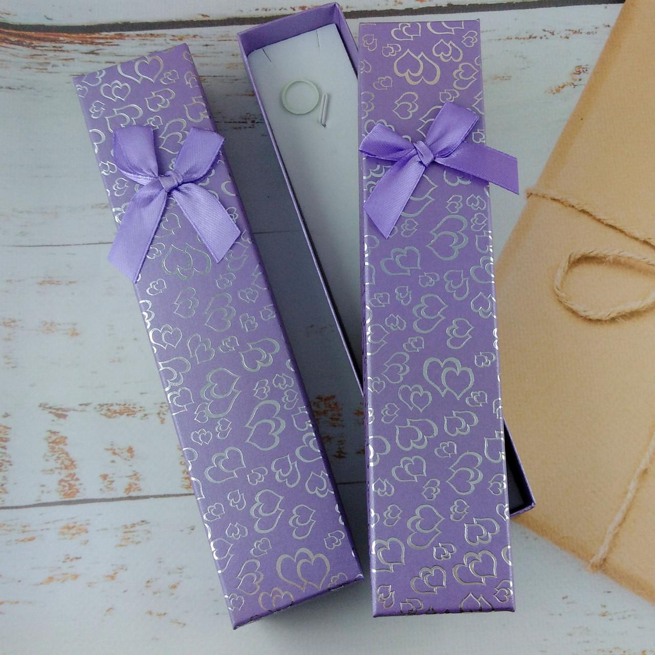 Подарочная коробочка для браслетов Сердца Сиреневая
