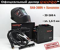 Сварочный инвертор Dnipro-M SAB-260N + Маска Хамелеон Dnipro-M WM-31. Электрод 5 мм