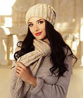 Зимний женский комплект «Андорра» (шапка и шарф) Светлый кофе
