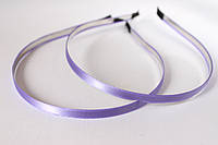 Обруч (ободок) для волос металлический с атласной лентой сиреневого цвета