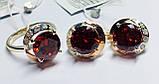 Гарнитур в серебре с красным цирконом Ксимена, фото 2