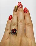 Срібне кільце з золотом і червоним фианитом Ксимена, фото 2