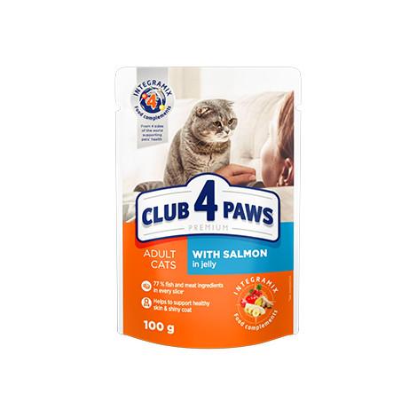 CLUB 4 PAWS PREMIUM 24*100 г. Блок паучей для взрослых кошек С ЛОСОСЕМ В ЖЕЛЕ