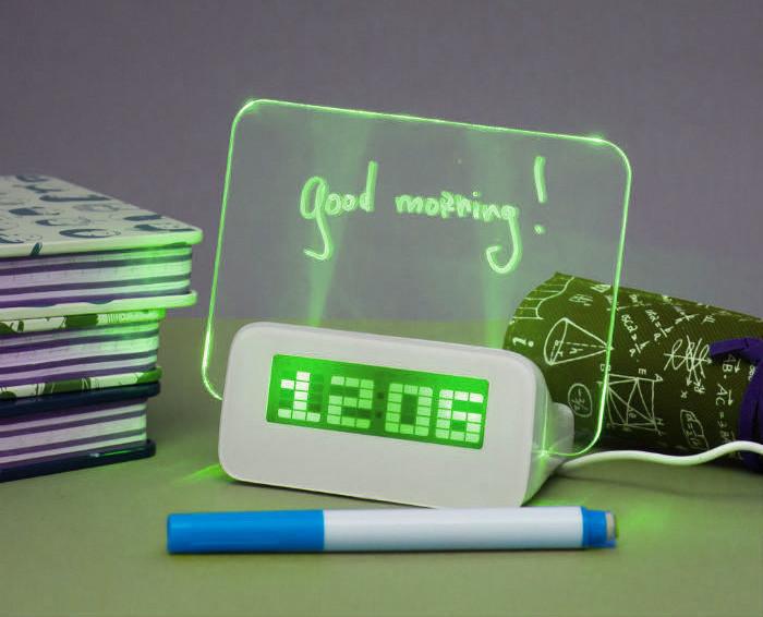 Светящиеся LED часы-будильник VJTech с доской для записей «Highstar» Green