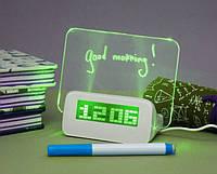 Светящиеся LED часы-будильник VJTech с доской для записей «Highstar» Green, фото 1