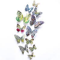 Бабочки двойные с голографическим эффектом 12 шт СВЕТЛЫЕ. Наклейки - бабочки для декорирования помещений.