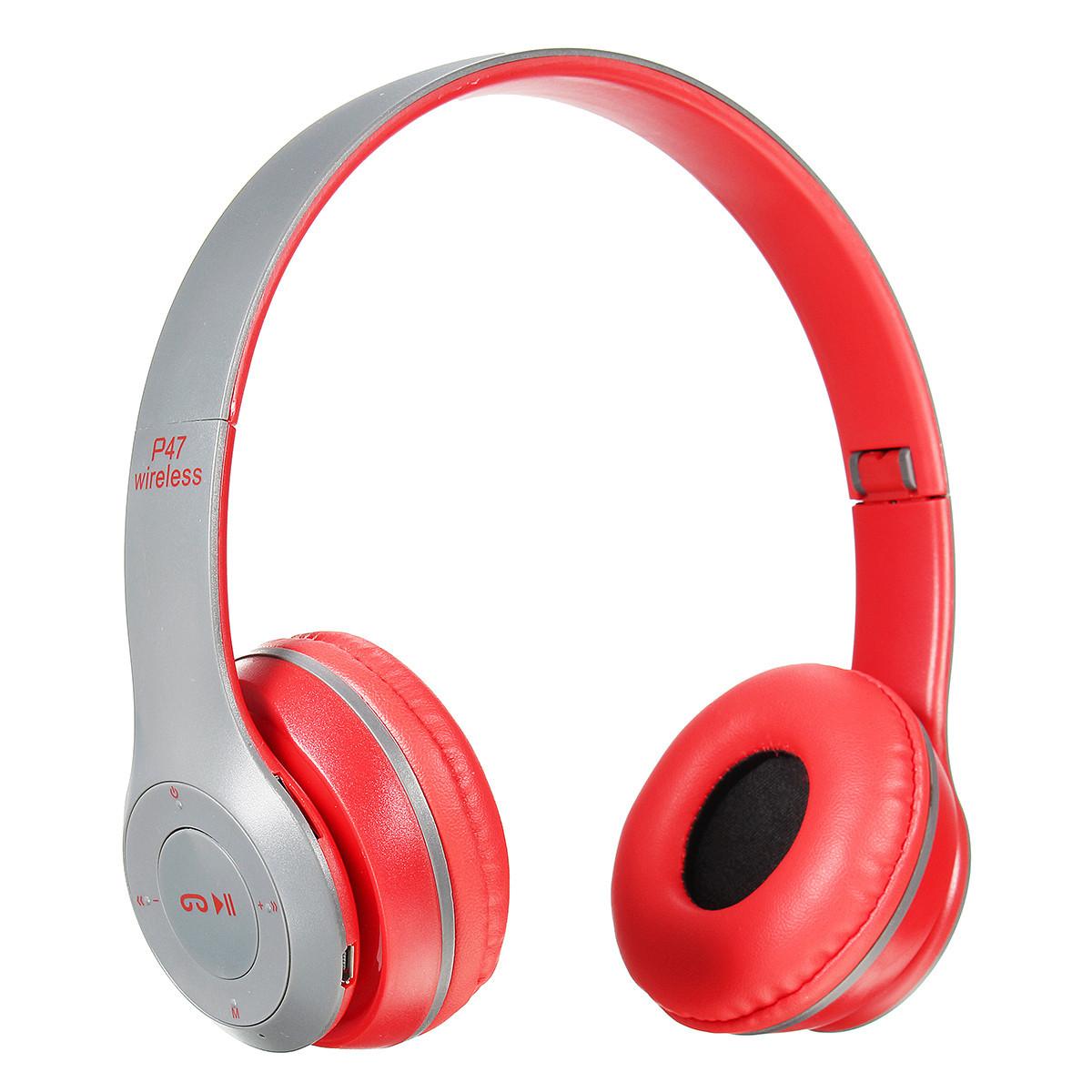 Бездротові Bluetooth-навушники з радіо і функцією плеєра P47 Red