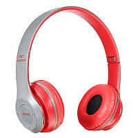 Бездротові Bluetooth-навушники з радіо і функцією плеєра P47 Red, фото 1